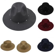 wide brim women felt hat chapeau jazz Fedoras Hats with Diamond decoration trilby panama headgear for