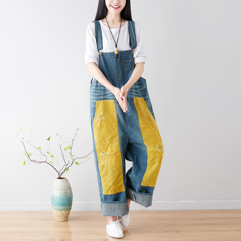Spring Jumpsuits Women Loose Retro Large size Rompers New Ladies Fashion Panelled Patchwork pocket Corduroy Overalls