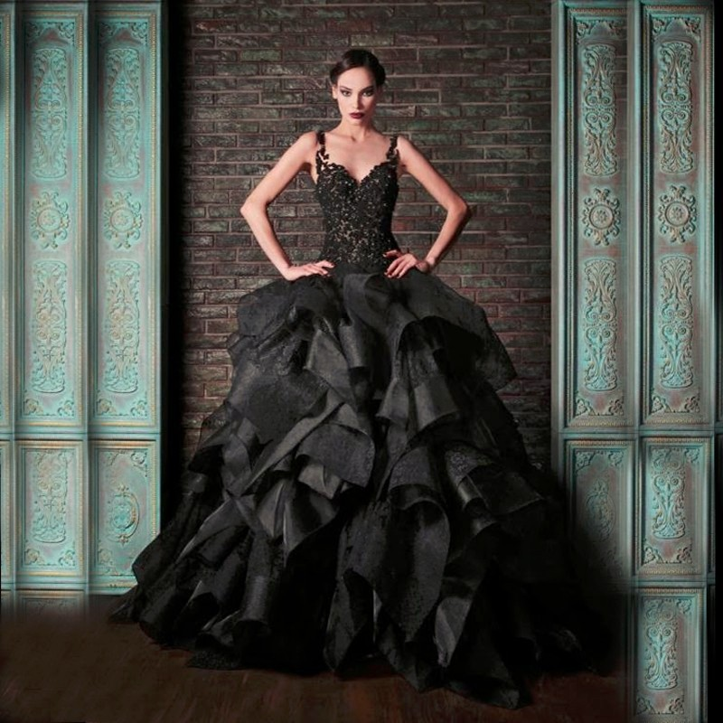 Wedding Ball Gowns With Straps: Victorian Gothic Black Wedding Dresses Puffy Ball Gown