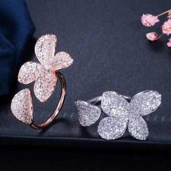 Flower Leaf Open Cuff Rings