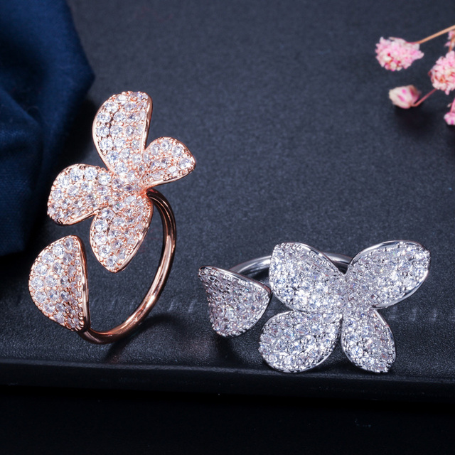 CWWZircons Resizable Luxury Silver and Rose Gold Cubic Zirconia Flower Leaf Open Cuff Rings for Women Engagement Party Gift R130