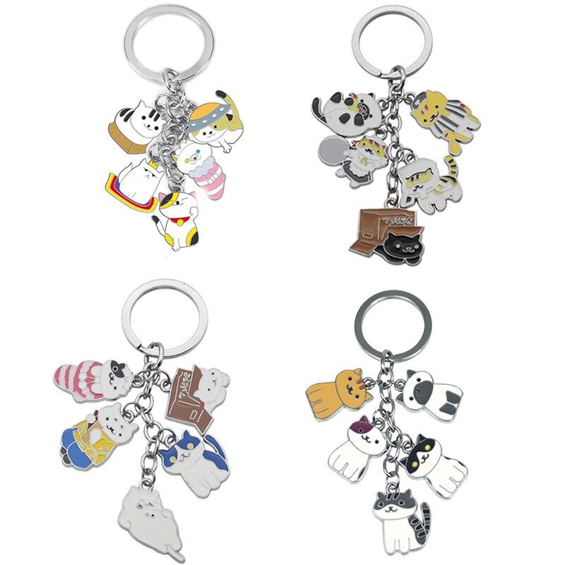 f60aff323 4 Style HALDER Fashion Neko Atsume Cat Metal Pendant Keychain Charm Cute  Cats Keyring Bag Car