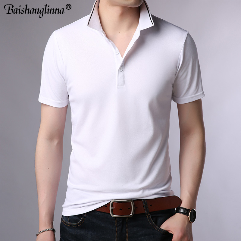Baishanglin Brand clothing Men Polo Shirt Men Business Casual Solid Color Male Polo Shirt Short Sleeve High quality Pure Cotton 2