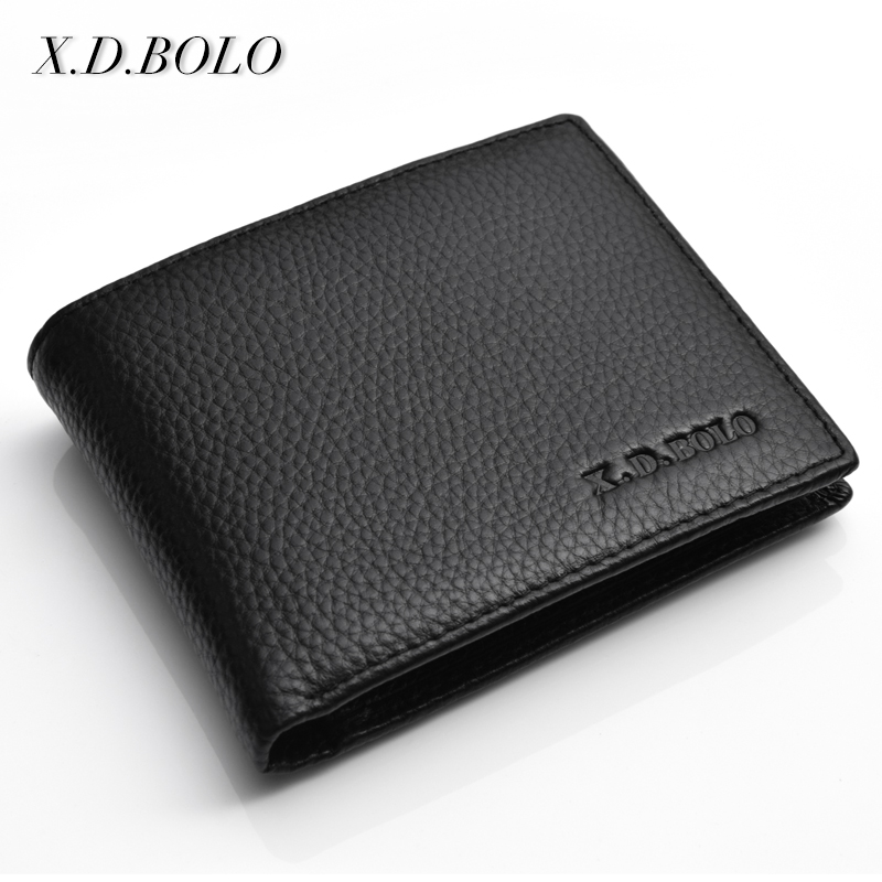 Men Wallet Genuine-Leather Card-Holders Short Man Purse Bifold Business-Style Real-Cowhide