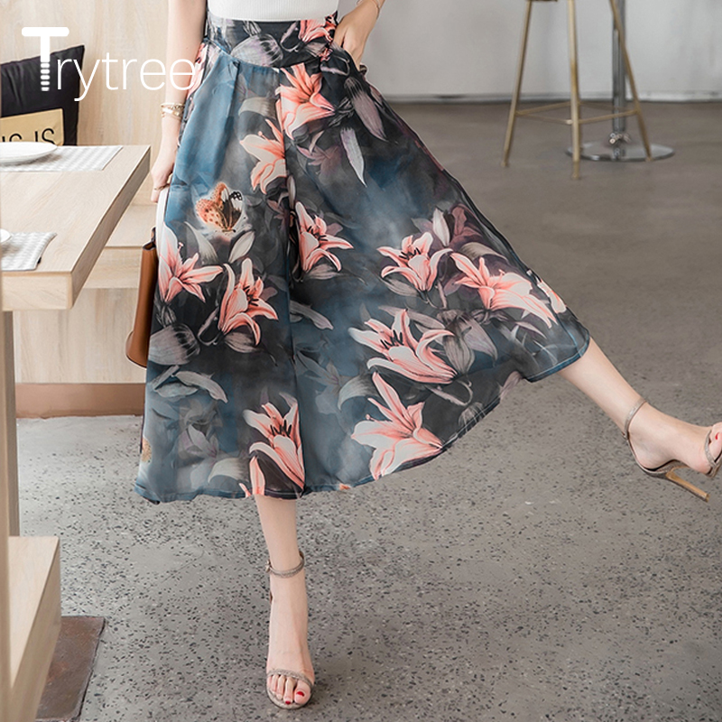 Trytree Spring Summer Women Print Beach style   Wide     Leg     Pants   Thin Women Elegant Fasion Elastic Waist Loose Casual   Pants   Female