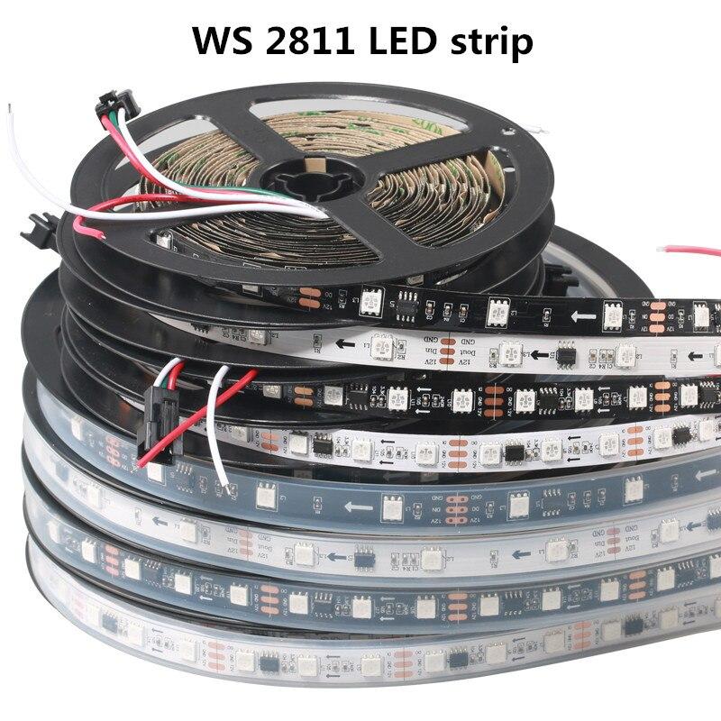 LED 1M DC12V WS2811 Strip Light RGB Addressable 30 48 60LEDs/M Waterproof IP67 / Not Waterproof IP30 Pixels Strip 1 IC To 3 LEDs