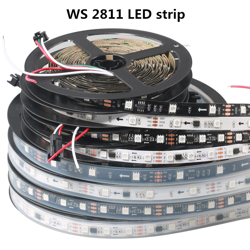 LED 1M DC12V WS2811 Strip Light RGB Addressable 30 48 60LEDs/M Waterproof IP67 / Not Waterproof IP30 Pixels Strip 1 IC To 3 LEDs