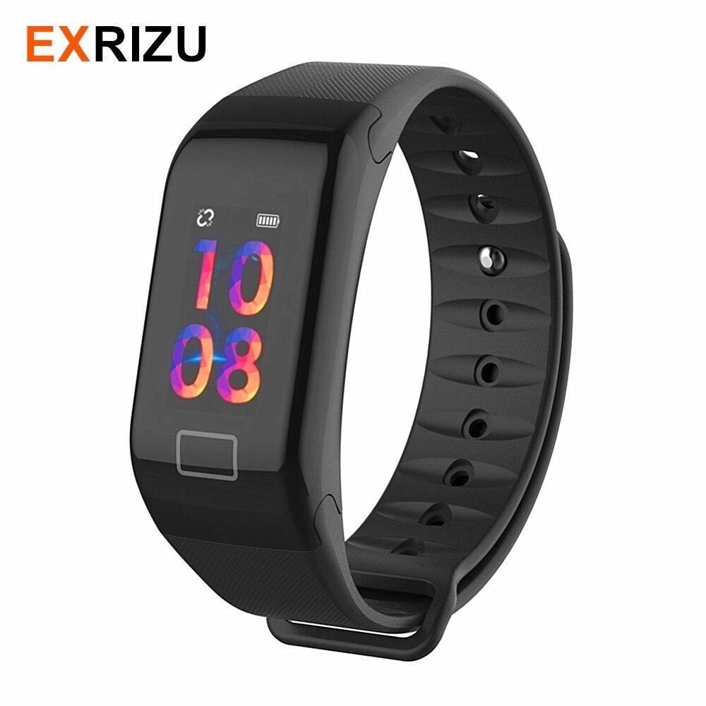 EXRIZU F1S Smart Bracelet Coeur de La Pression Artérielle Moniteur de Fréquence Intelligent Bracelet Femmes Hommes Bande de Sport Fitness Tracker pour Android iOS