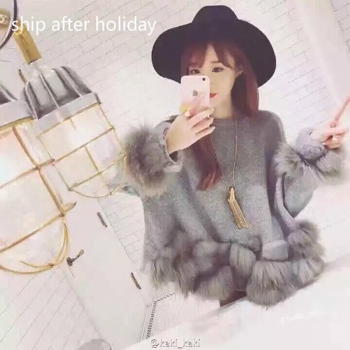 Tir D'hiver blanc Rond Femmes Avec 2019 Wb55700 Vêtements Col Fourrure Pour Manches Réel Femme Lanterne Mode Tricot Gris Nouvelle qYUZP