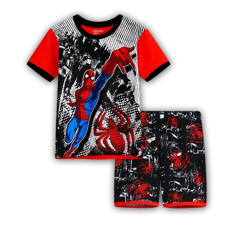 5 Kids Boys Girls Pajamas Cartoon Spider-Man Set Baby Sleepwear Cotton Superhero Costumes Shorts + Short Sleeve Tees Baby Clothing