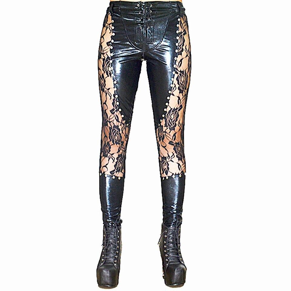 Sexy femmes Faux cuir Patchwork dentelle transparent Skinny pantalon riveté cordon noir pantalon Punk & club Style