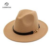 Otoño Invierno mujeres hombres sentían sombreros Fedora con la hebilla del  cinturón ancho flat brim jazz formal sombrero Panamá . 86aed383599