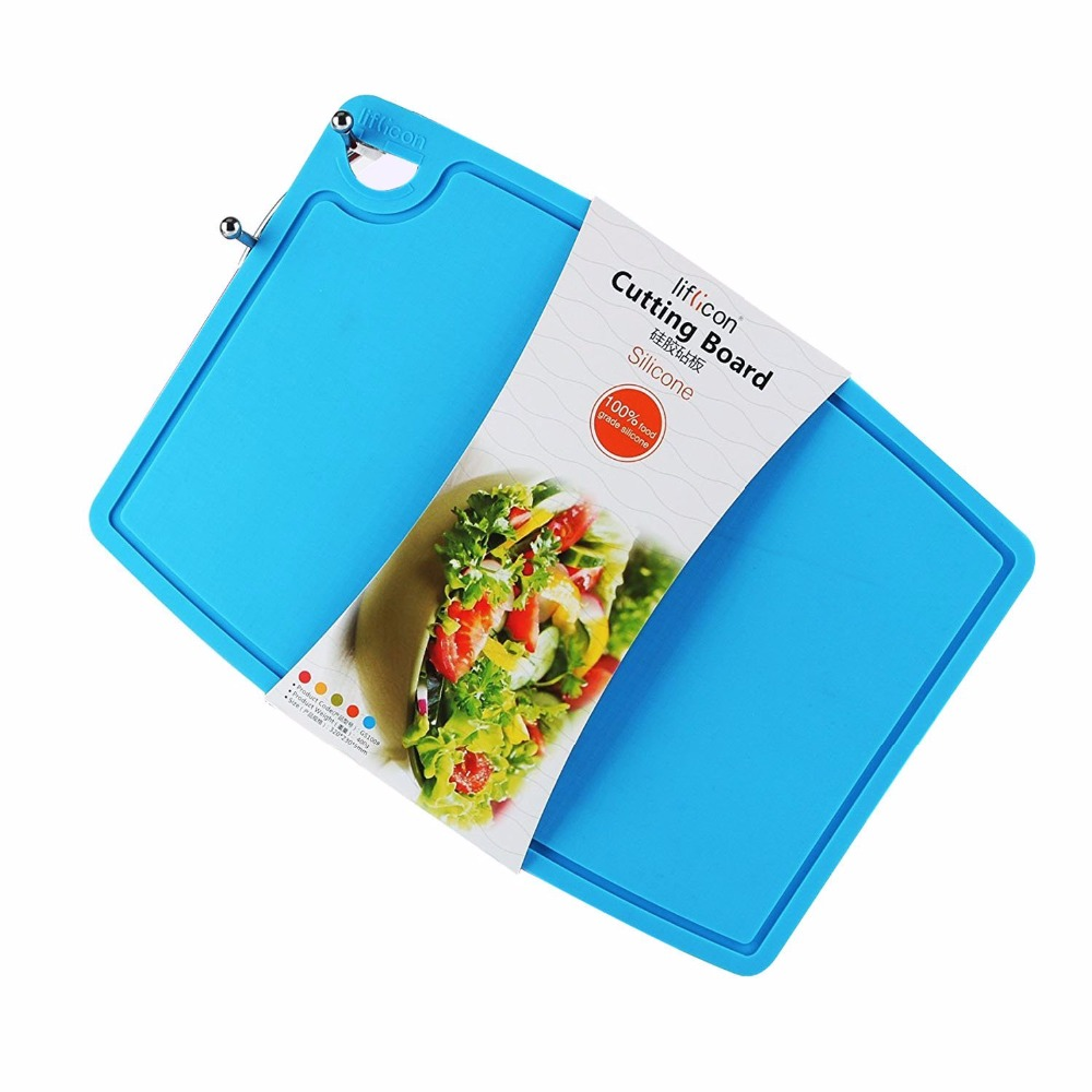 Liflicon Foldable Silicone Cutting Board Silicone Sink Strainer Chopping Blocks Anti-bacterial Cutting Blocks Non-slip Hang Hole