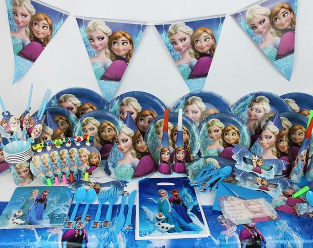 Luxury Disney Frozen 78pcs Anna Elsa Baby Birthday Party Decorations