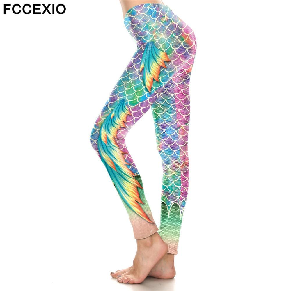 FCCEXIO 2019 PINK Sequins Mermaid Wings High Waist Leggings Fish Scales 3D Legging Stretch Fitness Legins Women Workout Pants