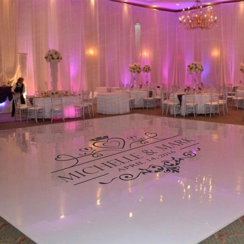 Etiqueta de la pista de baile de la boda, piso de la Boda monograma vinilo adhesivo para el suelo, decoración del partido personalizado nombre y fecha DIY Deco WD17