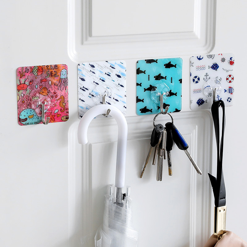 Cute Cartoon Strong Sticky Hooks Hangers Organizer Wall Hanging Self-adhesive Heavy Duty Hooks Decor Hooks For Kitchen Bathroom