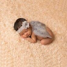 Новая детская головная повязка с цветком для новорожденного+ крыло Опора наряды костюм фото Фото Набор