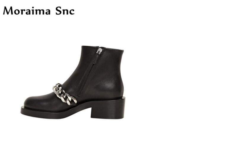Moraima Snc metal chain 2018 Newest Ankle boot round toe platform med heel side zipper female shoes square heel Ankle boots round toe flat heel zipper ankle boots