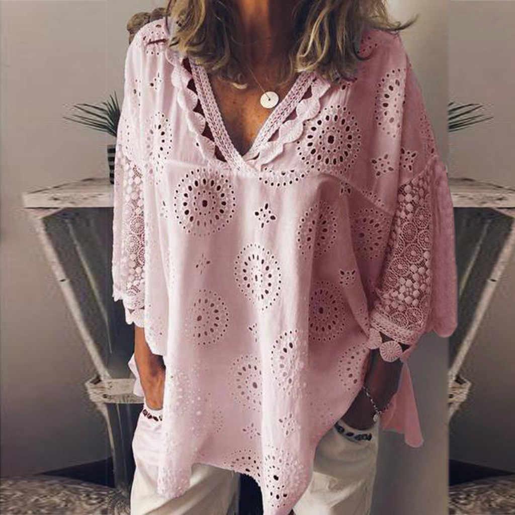 Blusa feminina oco para fora rendas retalhos topos feminino plus size 5xl geometria com decote em v camisa de verão vrouw blusa grande sizetops # g8