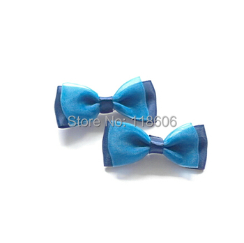 Wholesale 240pcs/lot Girls Purple and Navy Polyester Ribbon Hair Bow Free Shipping