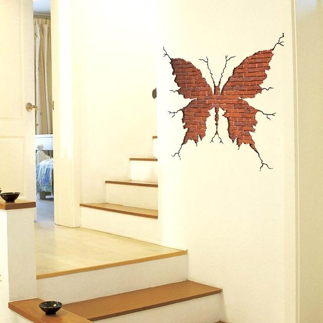 The butterfly shape Broken wall red brick 3D Wall door Sticker ...