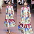 Europe and the United States, 2015 new fashion brand shows with hand-drawn cartoon printing long dress