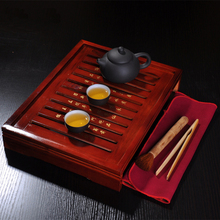 Drinkware Yixing zisha purple sand Kung fu tea set Solid wood tea tray tea cup ceremony teapot