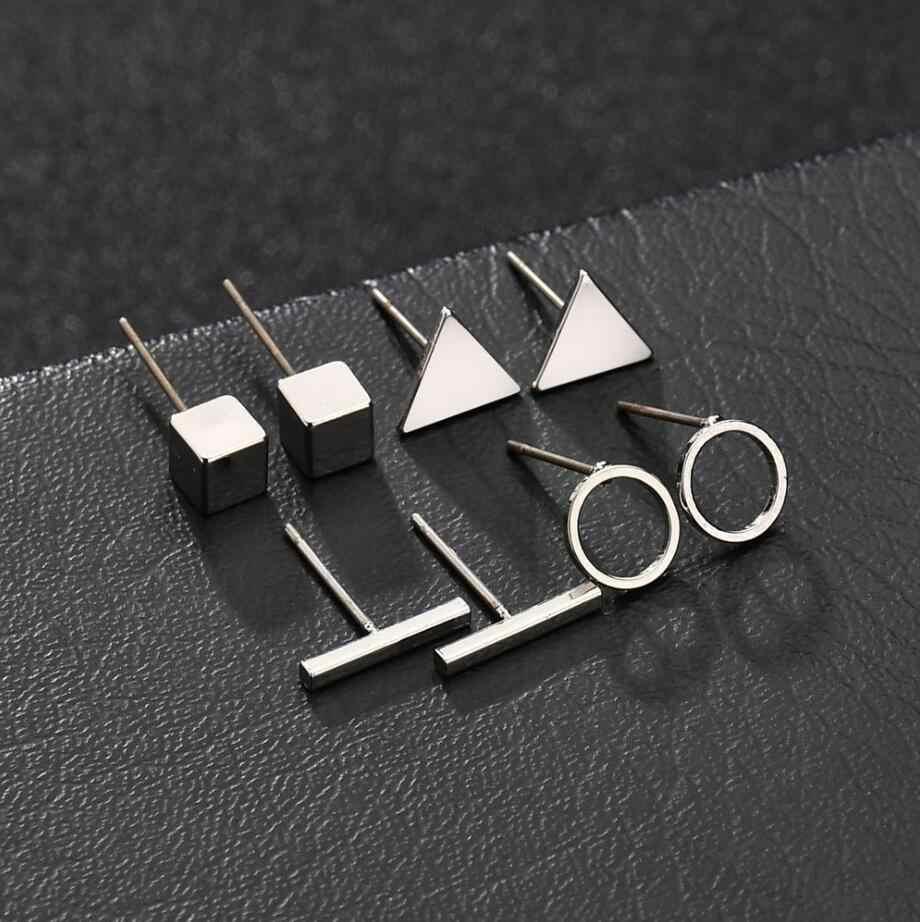 คุณภาพสูง 4 คู่/เซ็ตรอบสามเหลี่ยมเงินทองสีดำสตั๊ดต่างหูผู้หญิงเครื่องประดับหูวันวาเลนไทน์ของขวัญ