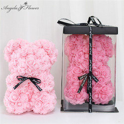 DIY 25 cm Teddy Rose Bear With Box Artificial PE Flower Bear Rose Valentine's Day For Girlfriend Women Wife Mother's Day Gifts