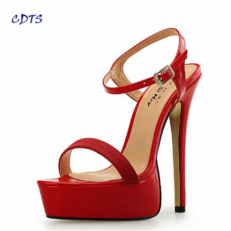 CDTS 2017 Plus:46 47 48 SUMMER Peep Toe sandals 16cm thin high heels Stilettos sexy woman shoes platforms Gold Bottoms pumps cdts summer ankle strap sandals hasp rhinestone paillette 17 18cm ultra thin high heels peep toe female shoes woman pumps