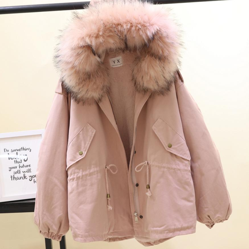 Winter Fashion Women's Hooded Cotton Coat Faux Fur Collar Warm   Parkas   Female Loose Oversize Cotton-padded Jacket Outwear L1790