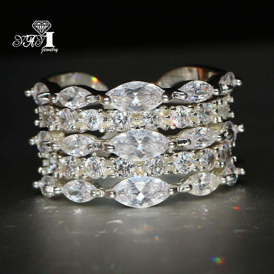 Yayi Schmuck Mode Prinzessin Cut 4,6 Ct Weiß Zirkon Silber Farbe Verlobungsringe Hochzeit Herz Partei Schellt Verlobungsringe