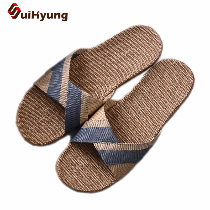 Suihyung New Men's Summer Slippers Flats Breathable Linen Casual Sandals Home Bathroom Non-slip Flip Flops Indoor Shoes Pantufa