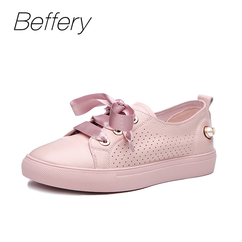 Beffery Spring/Summer Genuine Leather Casual Sneakers Women Flat Breathable Shoes Fashion Lace-up Shoes Women Platform Shoes ege brand handmade genuine leather spring shoes lace up breathable men casual shoes new fashion designer red flat male shoes