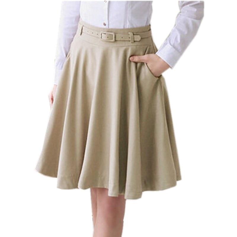 bca41551539a2 2019 Fashion Women Summer Skirt Plus Size Skirt OL All Match Black Beige  Midi Skirt High Waist Pleated Skirts Women Saia-in Skirts from Women s  Clothing on ...