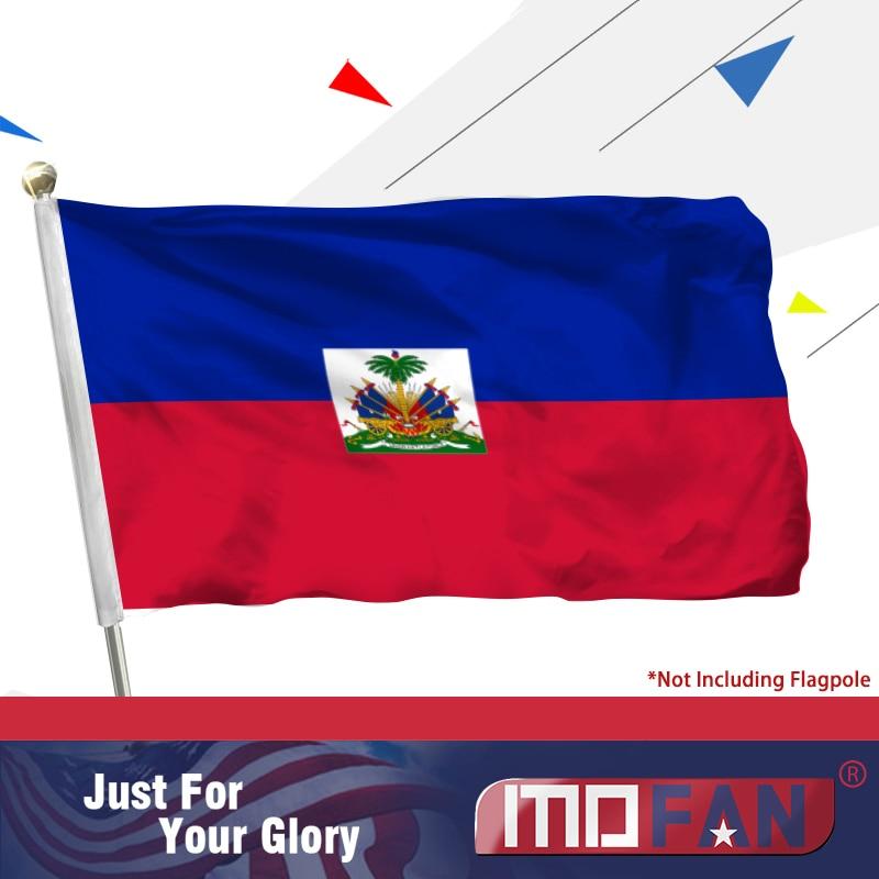 Vlajka MOFAN Haiti - Záhlaví plátna a dvojité prošívání - Haitská národní vlajka Polyester s mosaznými průchodkami 3 X 5 Ft