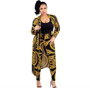 Women new national print Trench Coat tops pencil long pants two pieces sets sexy bodycon tracksuits suits 5colors X9041