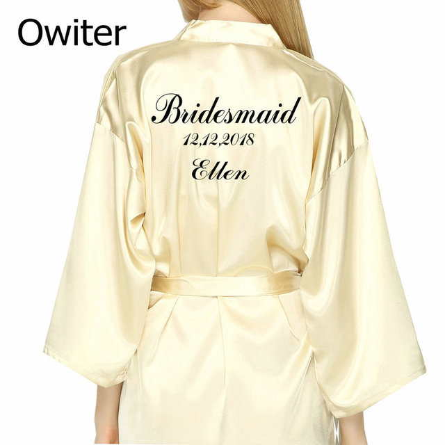 Us 14 81 22 Off Personalized Robes Satin Silk Printed Gown Wedding Bride Bridesmaid Robe 001 In Robes From Underwear Sleepwears On Aliexpress Com