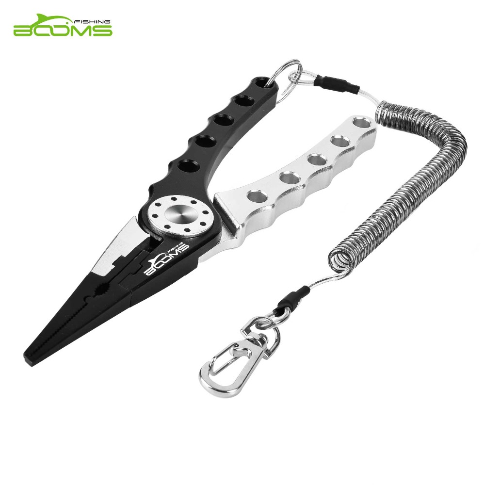 Booms Fishing X1 Aluminum Alloy Fishing Pliers Hook Remover Tools Braid Line Cutting Split Ring With Coiled Lanyard And Sheath