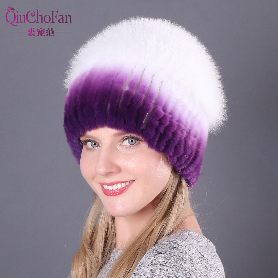 Hot Sell Winter Lady Beanie Hat Women Real Rex Rabbit Fur Hats Knitting Thicken Fur Hat Female Luxury Fox Fur Cap Beanies
