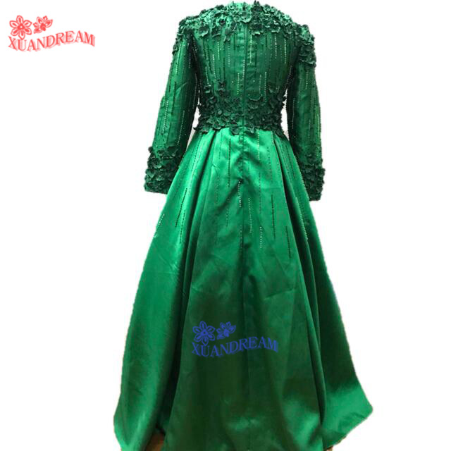 100% real made hot instagram evening dress vestidos de festa formal long  sleeves with 3D flower cheap evening dresses gown XD308     6c6a9a6780e0