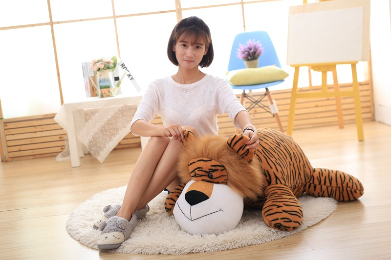 big new plush lying tiger toy creative lovely tiger pillow doll gift about 90cm the huge lovely hippo toy plush doll cartoon hippo doll gift toy about 160cm pink