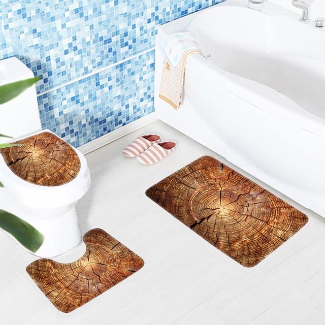 Tappetino da bagno Set 3 Pezzo Creativo Modello di Legno Antiscivolo Bagno Tappetino Da Bagno + Coperchio Coperchio Wc + Wc Mat