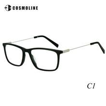 Cosmoline Brand Men's Acetate Glasses Frame Stylish Eyeglass Frames with Metal Temple Newly Designed Optical Frame for Men 464