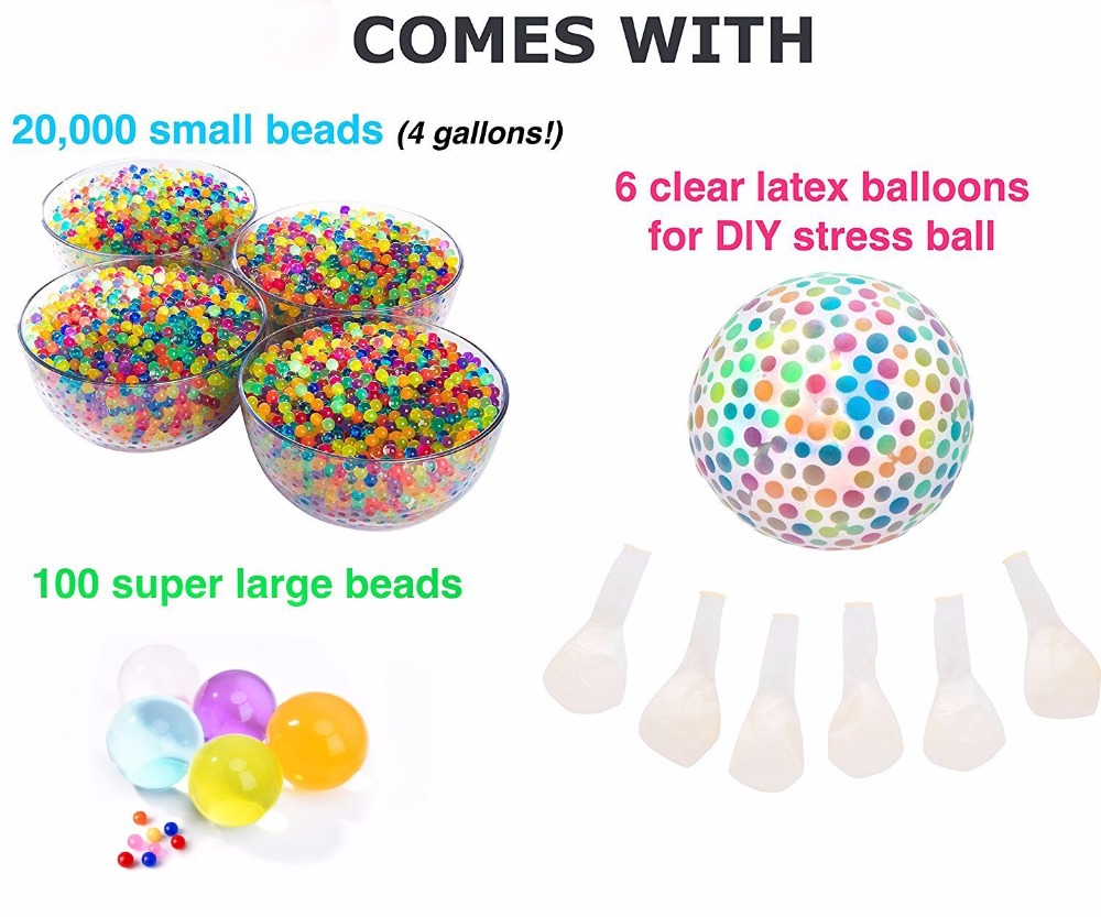 Sensory Water Beads Pack +Stress Ball FOR KIDS [20,000 Small+100 Large+6 Balloons] Squishy Water Gel Beads Pack for Kid Sensory