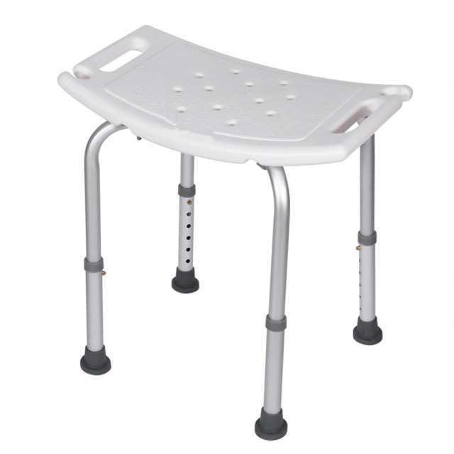 Shower Bath Stool Aluminum Alloy Seat Chair Without Back Adjustable Height  Convenient Bathroom Products