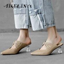 AIKELINYU Soft Natural Genuine Leather Women Flip Flops Medium Heels Summer Fashion Sexy Slippers Pointed Toe Slides black
