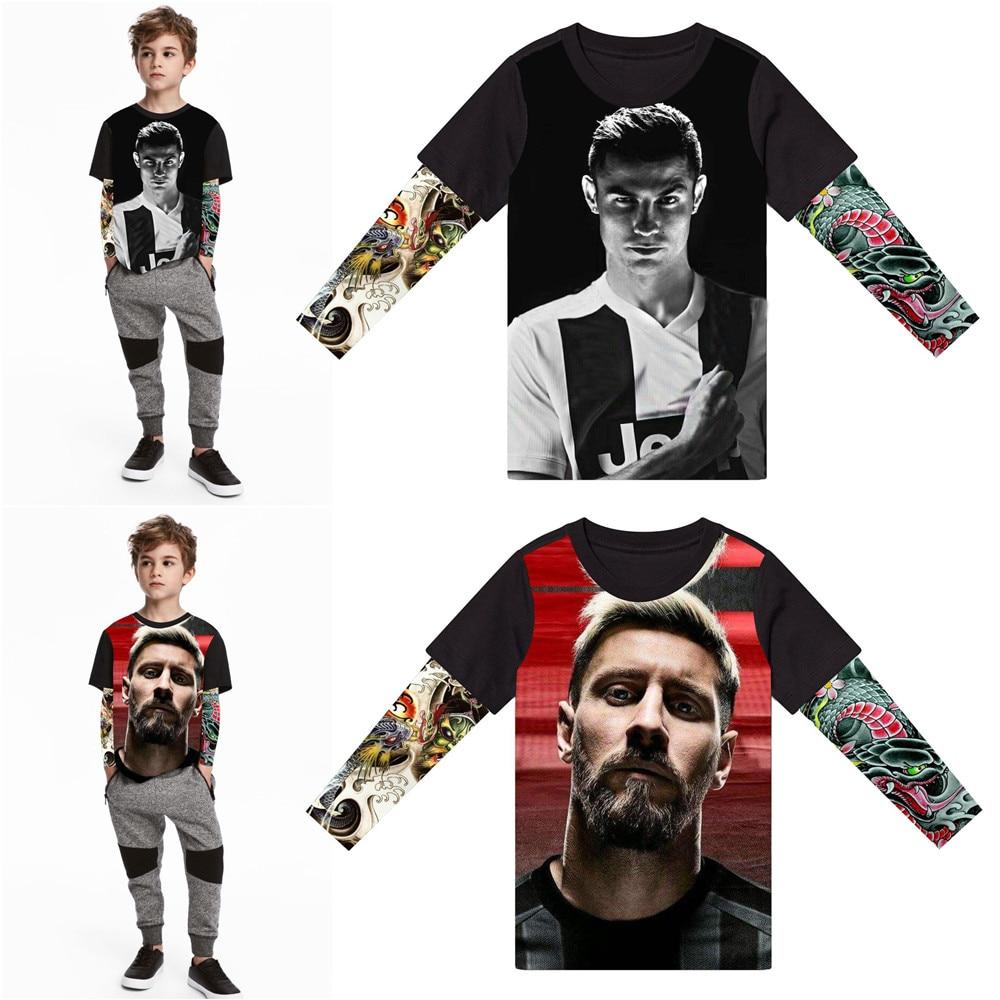 Футболка для маленьких мальчиков с милым 3D-принтом тату, футболка с надписью great kids, футболка с изображением футбольной звезды, креативная ф...