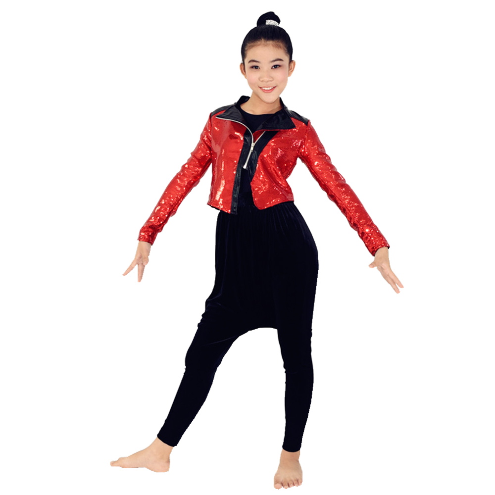 MiDee Hip-Hop Costume Jazz Dance Performance Outfits Full Sequins Jacket Black Haren Pants MJ Style